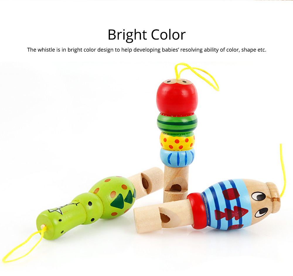 Wooden Animal-shape Whistle for Babies, Early Educational Toy for Children's Use, Musical Cultivation Tool Whistle with Bright Color 3