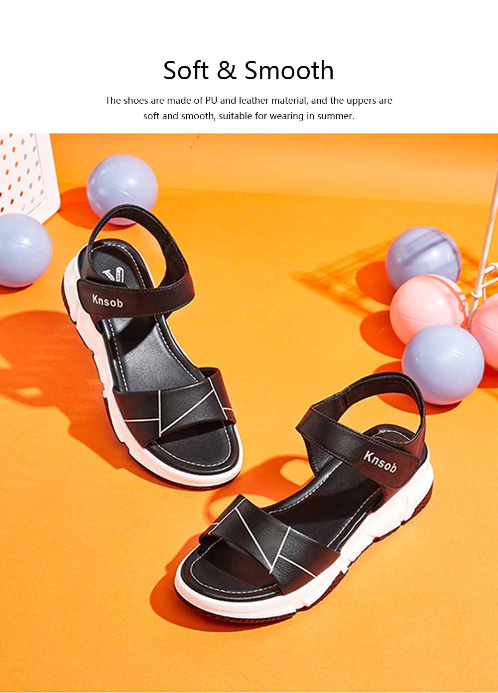 Sport Women Sandal Leather PU Material Flat-heeled Prevent Wear Foot Adjustable Velcro for Girl Shoes Summer 5