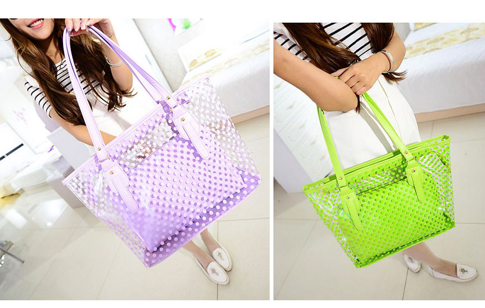Fresh Color Tote Bag for Women Summer Use Jelly Handbag Wave Point Waterproof PVC Beach Used Crystal Single Shoulder Held Bag 8