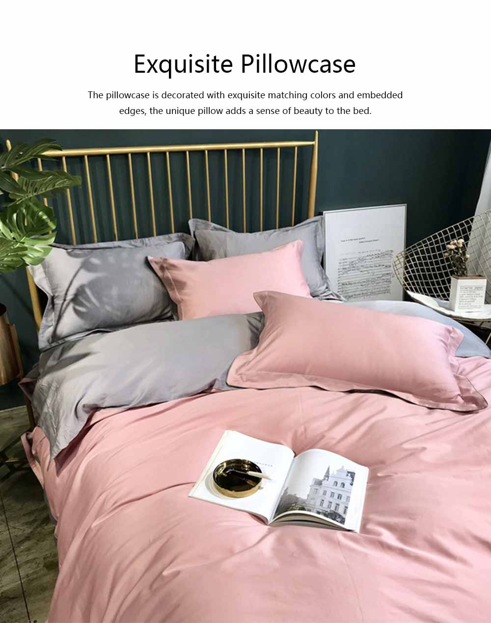 Four-piece Bedding Set Cotton Material, Flat-sheet Pillow Soft Bed Sheet Fitted-sheet Breathable Bedding Bag Comfortable Quilt 5