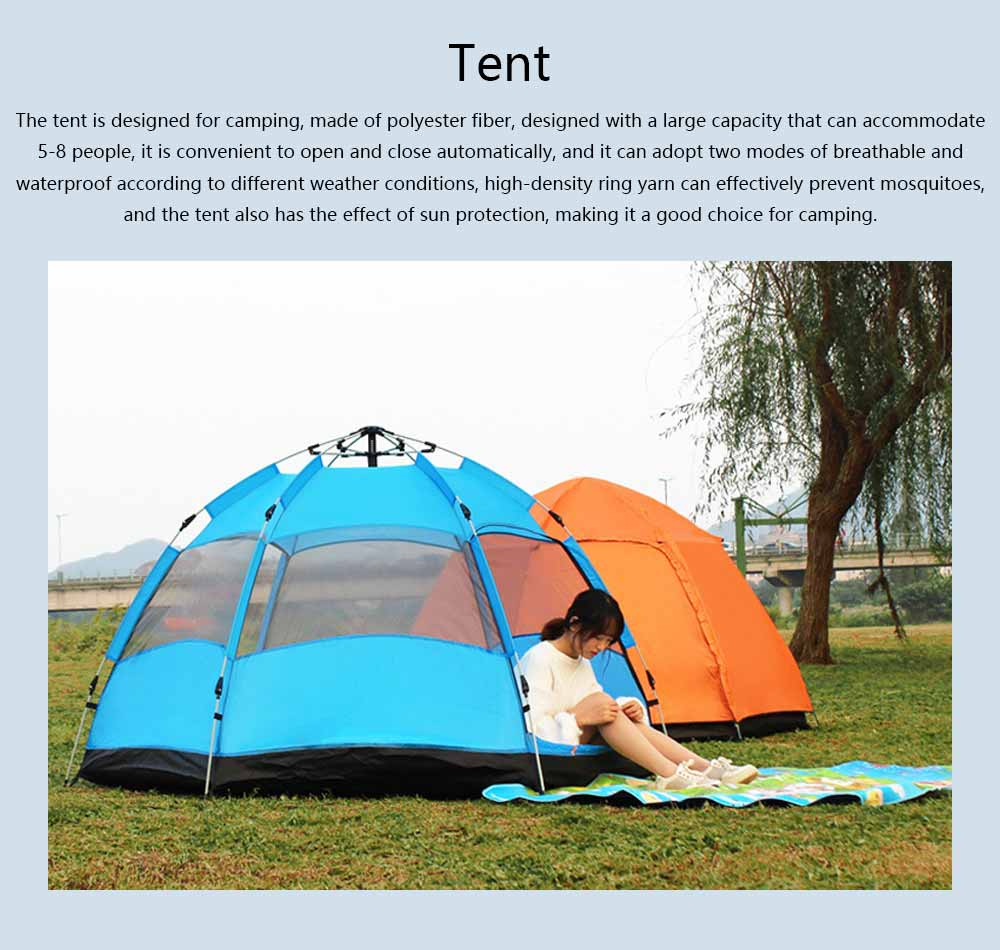 Tent Polyester Fiber Double Layers Waterproof Camping Six Corners for 5-8 People Insect Prevention Automatic Tabernacle 0