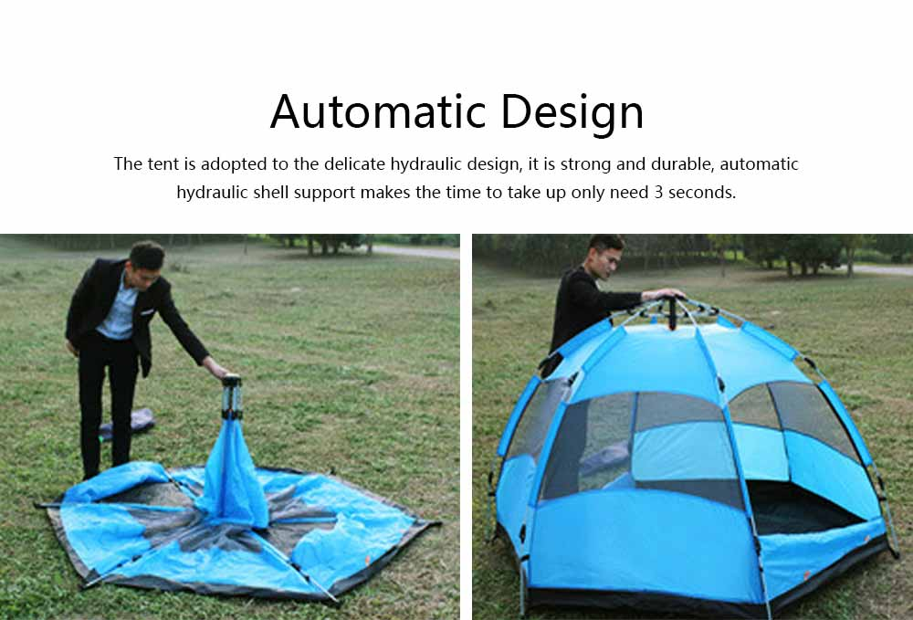Tent Polyester Fiber Double Layers Waterproof Camping Six Corners for 5-8 People Insect Prevention Automatic Tabernacle 1