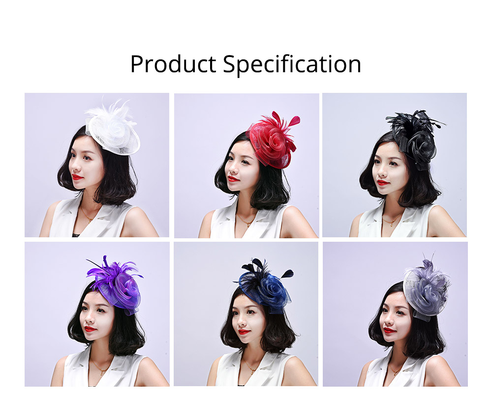 Further Clip for Wedding, Hair Accessories for Cocktail Parties, Headwear for Banquet Rose Shape 5