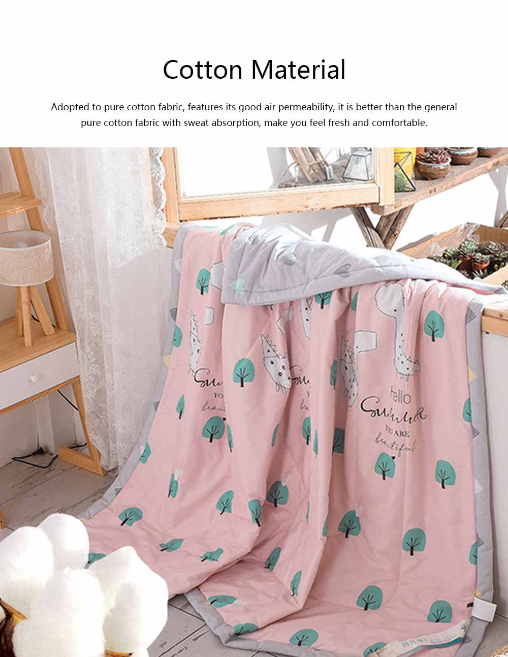 2019 Summer Quilt, Cotton Material Soft Environment Comforter Washing Machine Available, Softness Summer Refreshing Bedspreads 1