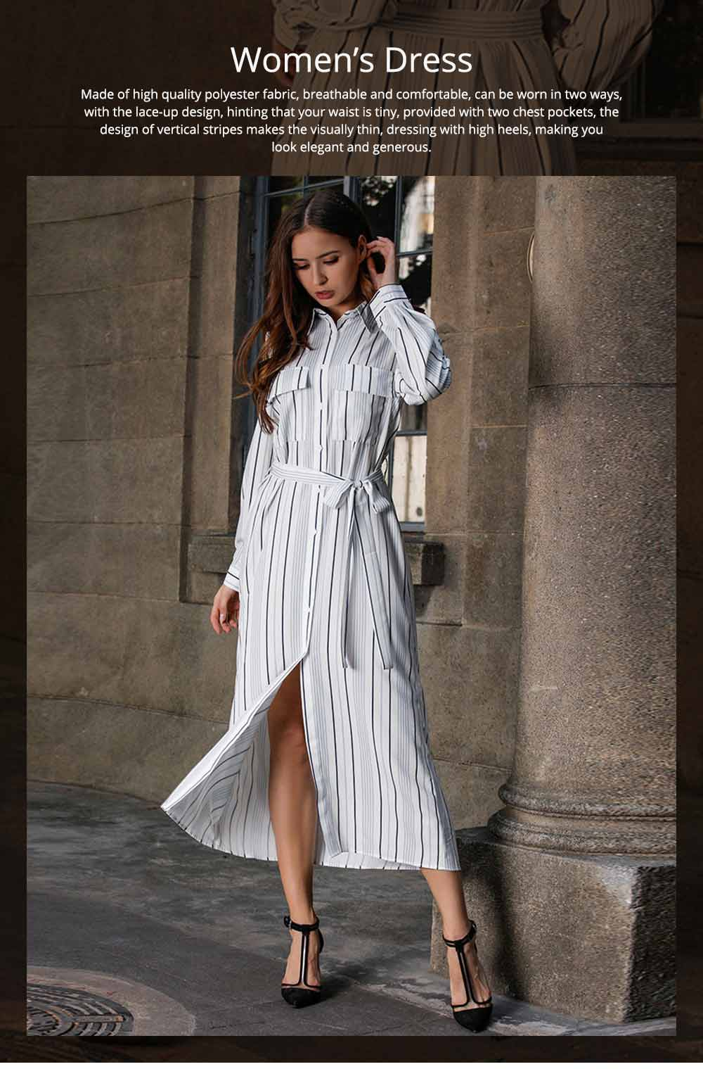 Spring Autumn Dress for Women, Long Sleeve Pocket Lace-up Long Dress, Fashion Stripe Casual A-line Lattice Skirt 2019 0