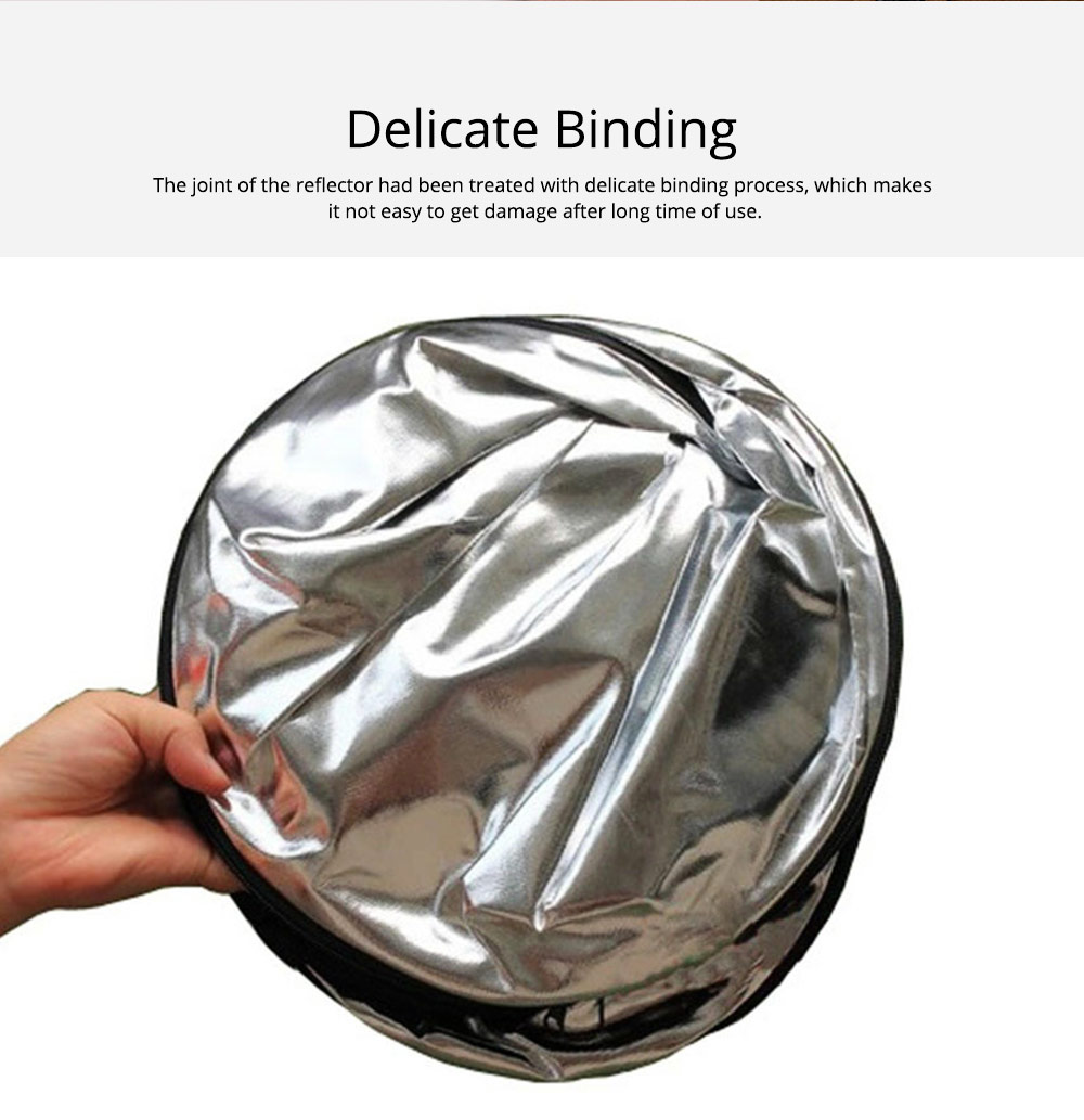 80cm Portable Foldable Silver Gold 2 in 1 Reflector, Collapsible Film Shooting Photography Disc Reflector 4