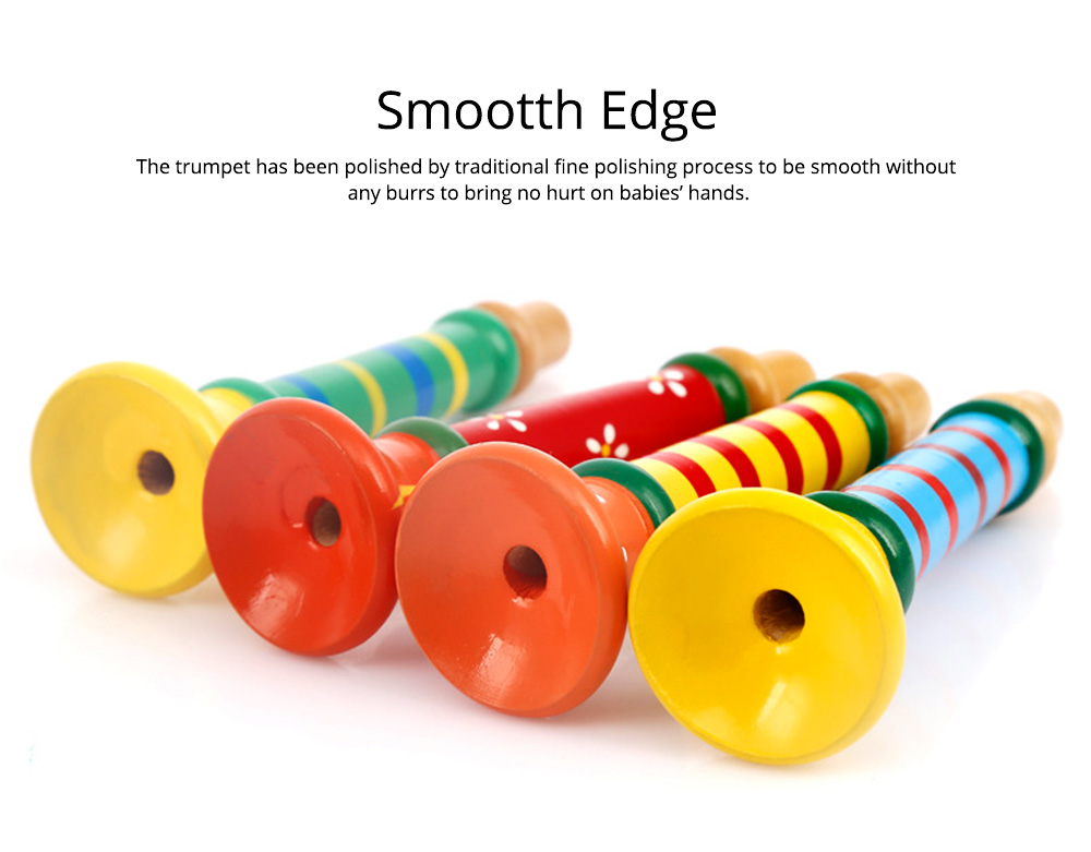 Colorful Wood-made Music Perception Musical Instrument, Early Educational Toy WoodHorn for Children Babies Wooden Trumpet 3