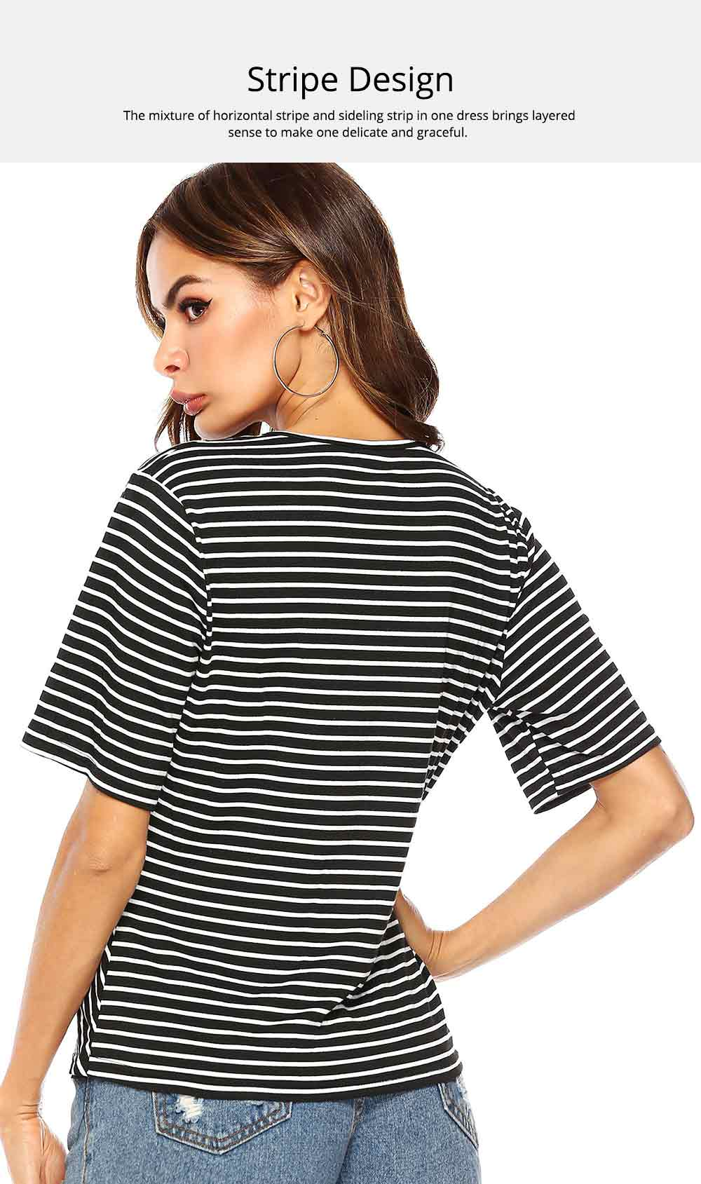 V-Neck Stripe Tees with Adjustable Buckle, Slimmer Waist Middle Sleeve T-shirt for Women Lady 2019 Summer Wear 4