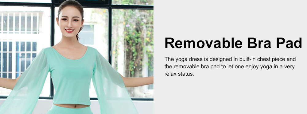 Beauty Shaped Yoga Wear for Women, Cotton Chiffon Yarn Belly Dance Formal Clothes Suit, Slim-fitting Performance Clothes Suit for Yoga, Fitness, Exercise 4