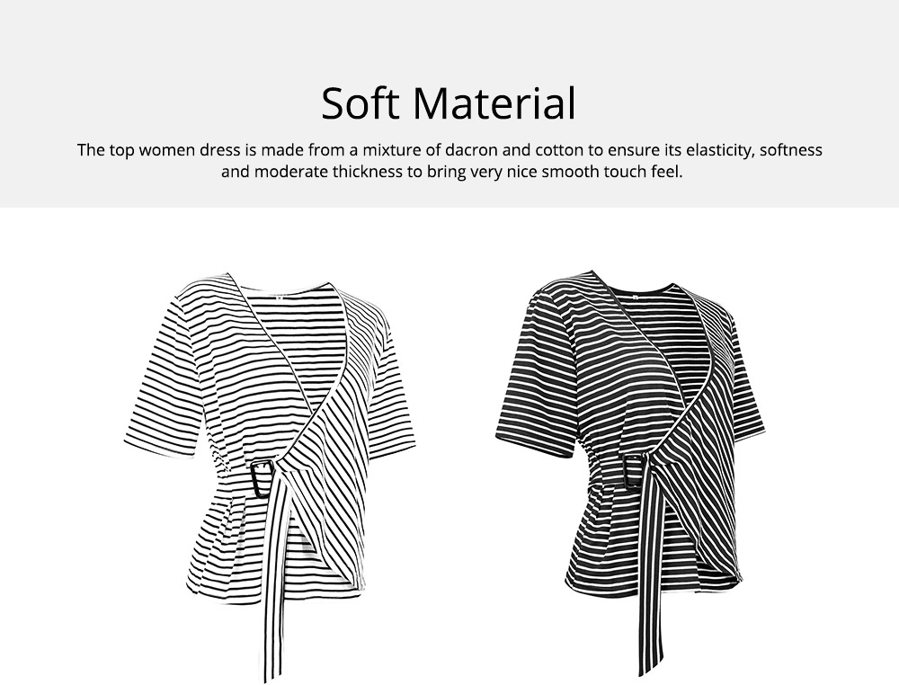 V-Neck Stripe Tees with Adjustable Buckle, Slimmer Waist Middle Sleeve T-shirt for Women Lady 2019 Summer Wear 1