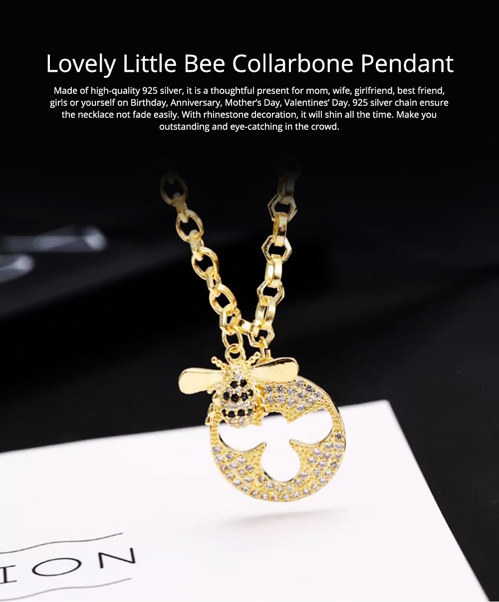 Lovely Little Bee Collarbone Pendant with Artificial Diamond, 925 Sterling Silver Chain with Pendant, Adjustable Dainty Necklace 0