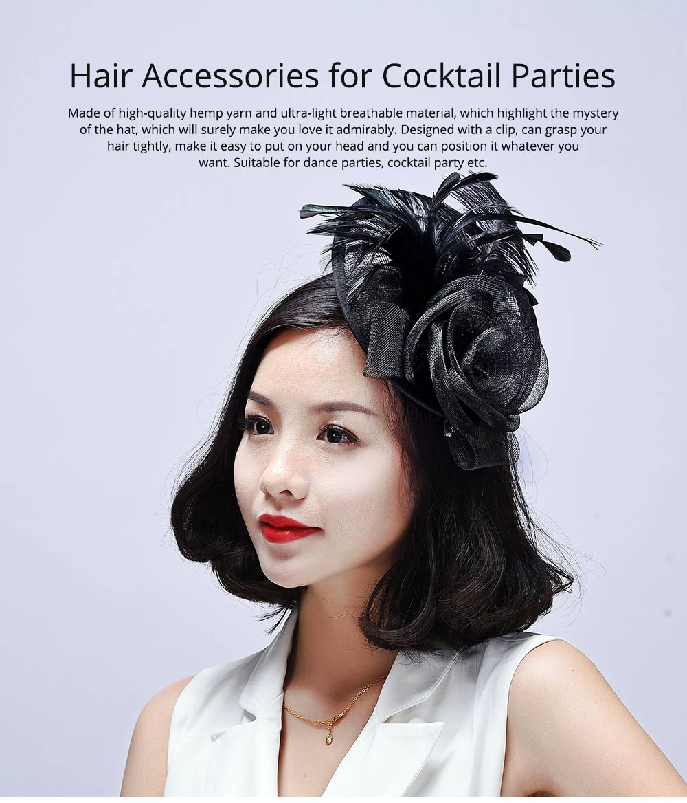 Further Clip for Wedding, Hair Accessories for Cocktail Parties, Headwear for Banquet Rose Shape 0