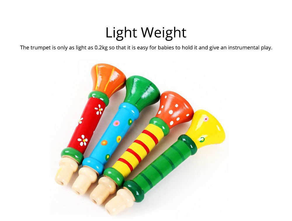 Colorful Wood-made Music Perception Musical Instrument, Early Educational Toy WoodHorn for Children Babies Wooden Trumpet 6
