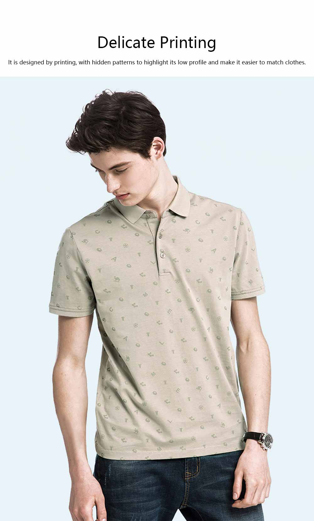 Male T-shirt Cotton Material Business Style Blouse, Peaked Lapel Stripe Printing Style Soft Casual Short Sleeve for Men POLO Shirt 4