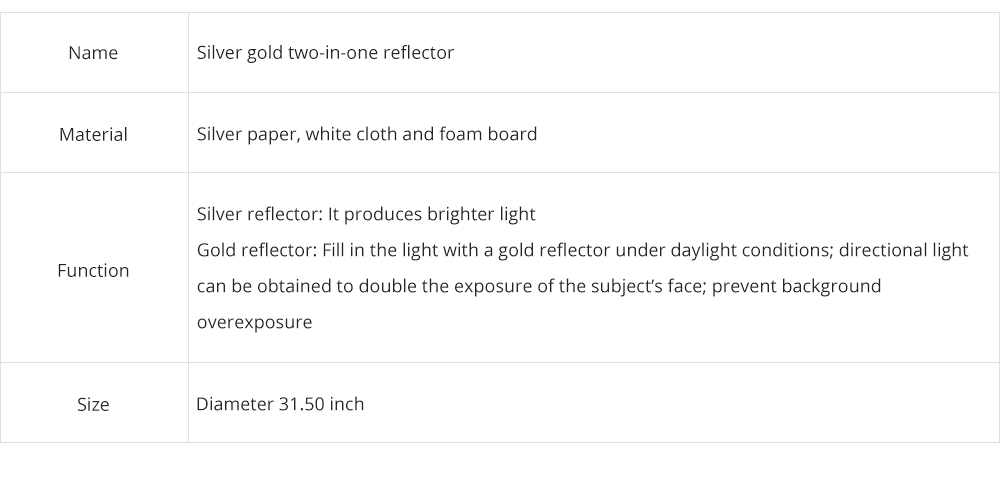 80cm Portable Foldable Silver Gold 2 in 1 Reflector, Collapsible Film Shooting Photography Disc Reflector 6