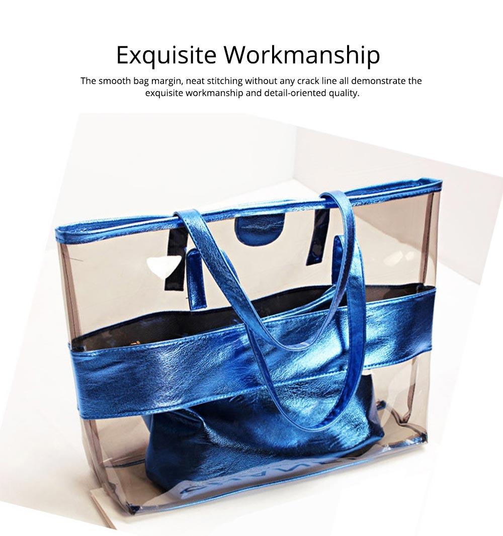 PVC Waterproof Transparent Bag for Women Summer Use, Crystal Tote Bag, Neon Color Jelly Single Shoulder Handbag 2
