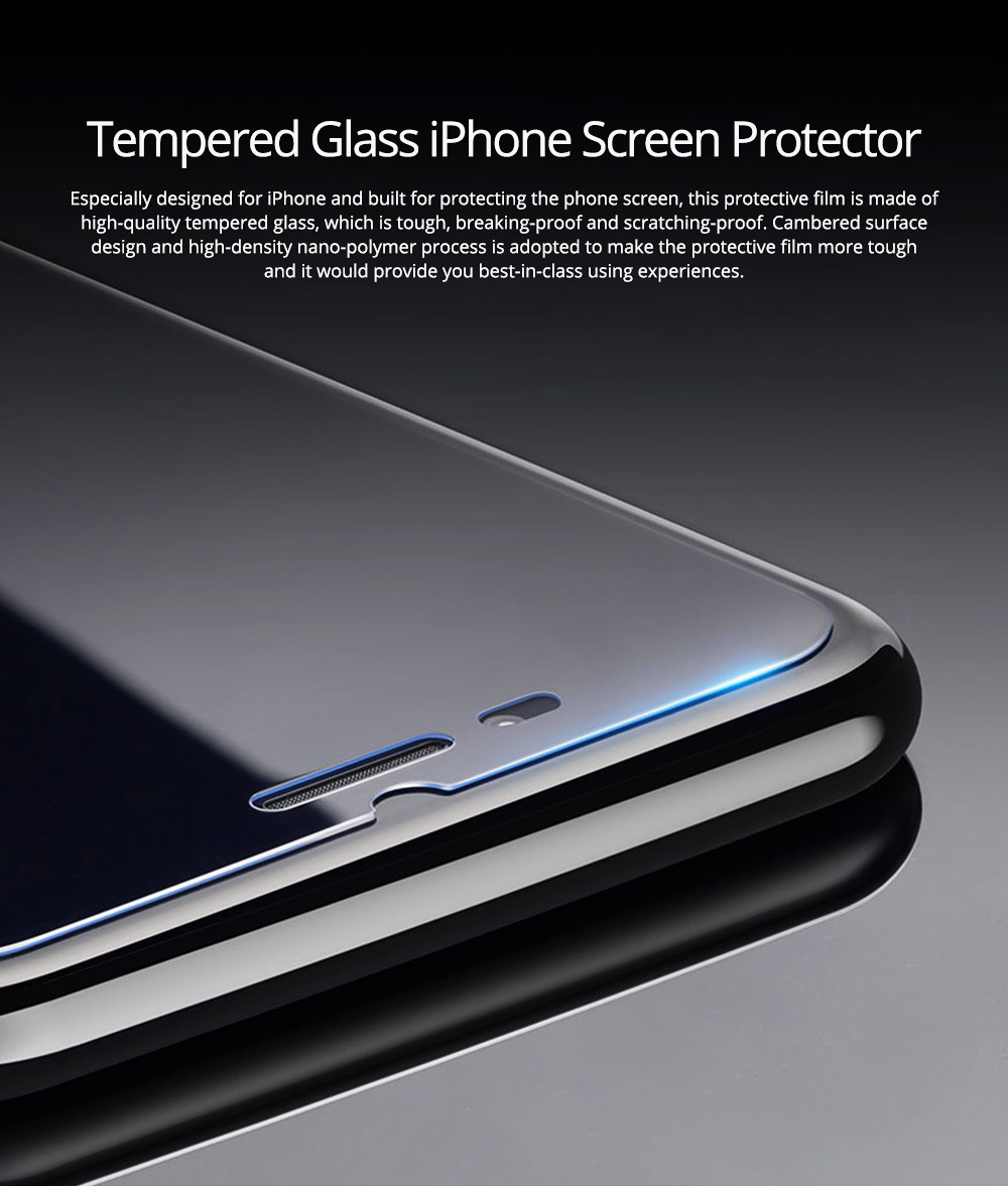 Tough Transparent Tempered Glass iPhone Screen Protector, Breaking-proof Scratching-proof Protective Film for iPhone 5 5S SE 6S Plus 7 8 X 0