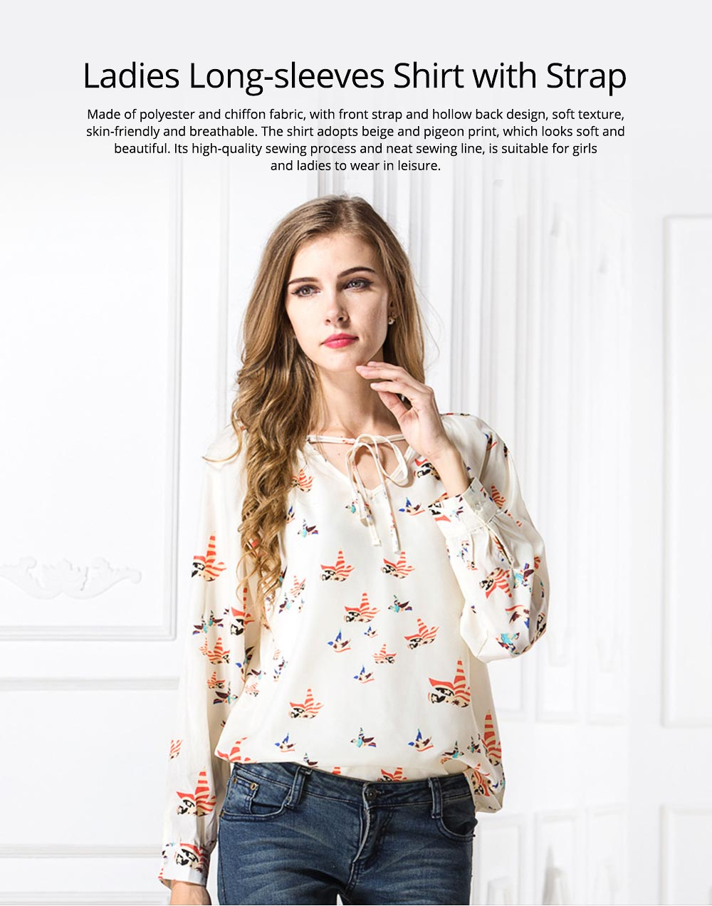 Women's V-neck Long-sleeve Chiffon Shirt, Ladies Shirt with Front Strap for Spring & Autumn, Hollow Back Shirt 0