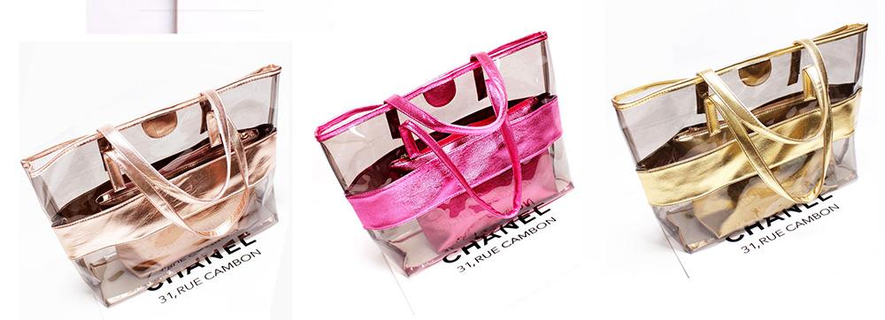 PVC Waterproof Transparent Bag for Women Summer Use, Crystal Tote Bag, Neon Color Jelly Single Shoulder Handbag 6