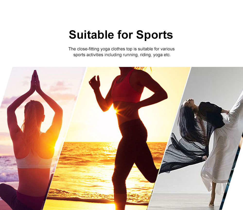 Yoga Clothes Tops for Women, Close-fitting Professional Yoga Dress, Beauty Back Hollow-out T-shirt for Body Exercises, Fitness, Yoga 2