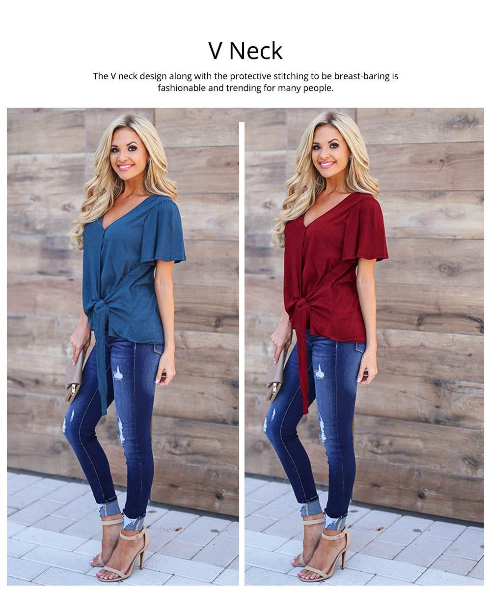 V-neck Lower T-shirt for Women in Summer 2019, Short Sleeve Hem Tying Knot Tees, Women Loose Top Dress 2