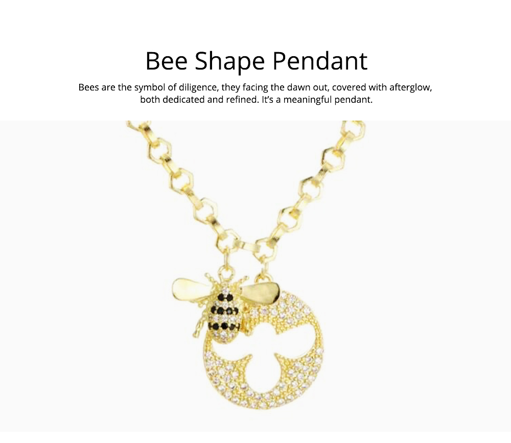 Lovely Little Bee Collarbone Pendant with Artificial Diamond, 925 Sterling Silver Chain with Pendant, Adjustable Dainty Necklace 2