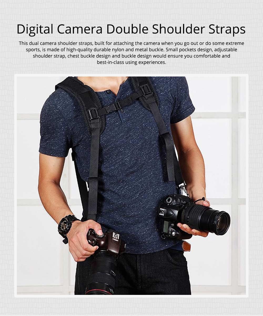 Professional Digital Camera Double Shoulder Straps, Comfortable Dual Shoulder Belt for SLR DSLR Camera Extreme Sports 0