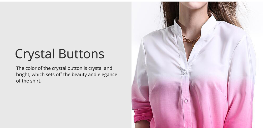 Women Button-down Shirt with Deep V-neck, Long Sleeves Ombre Shirt for Girls Ladies 2