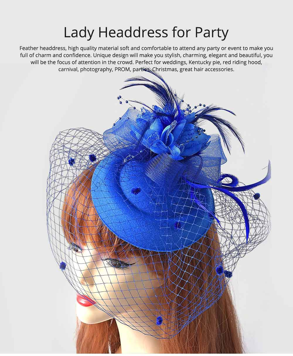 Party Hair Accessories Cocktail Hat, Elegant Hair Accessories for PROM & Party, Vintage Bow Feather Net & Veil Hat for Ladies 0