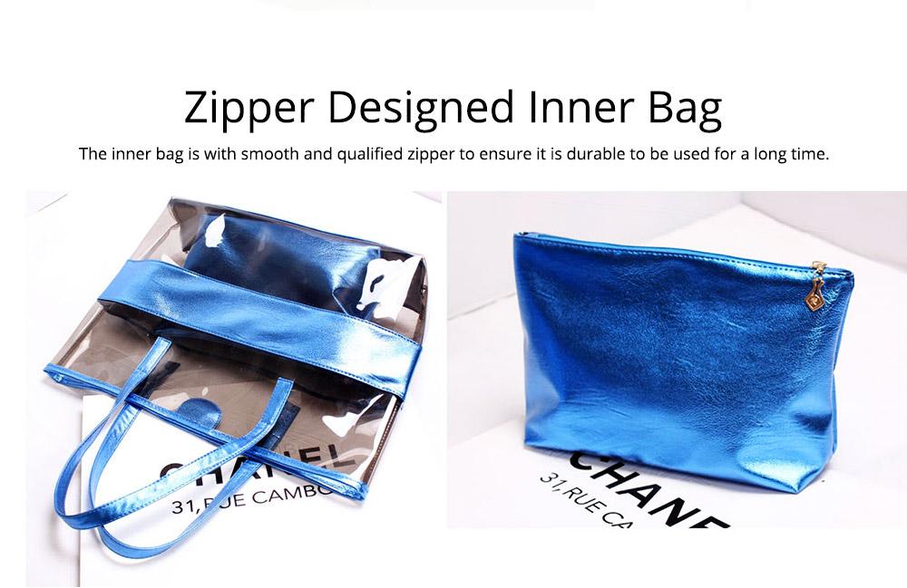 PVC Waterproof Transparent Bag for Women Summer Use, Crystal Tote Bag, Neon Color Jelly Single Shoulder Handbag 3