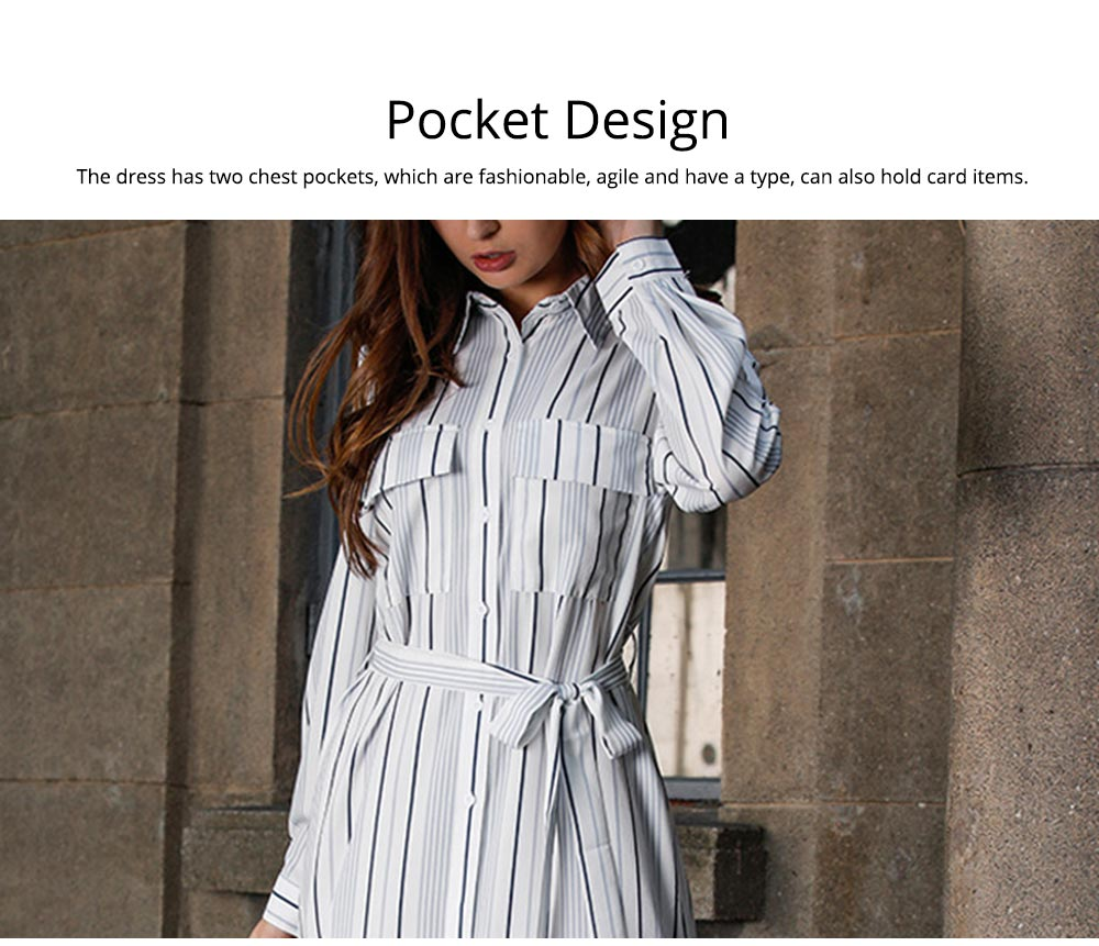 Spring Autumn Dress for Women, Long Sleeve Pocket Lace-up Long Dress, Fashion Stripe Casual A-line Lattice Skirt 2019 3