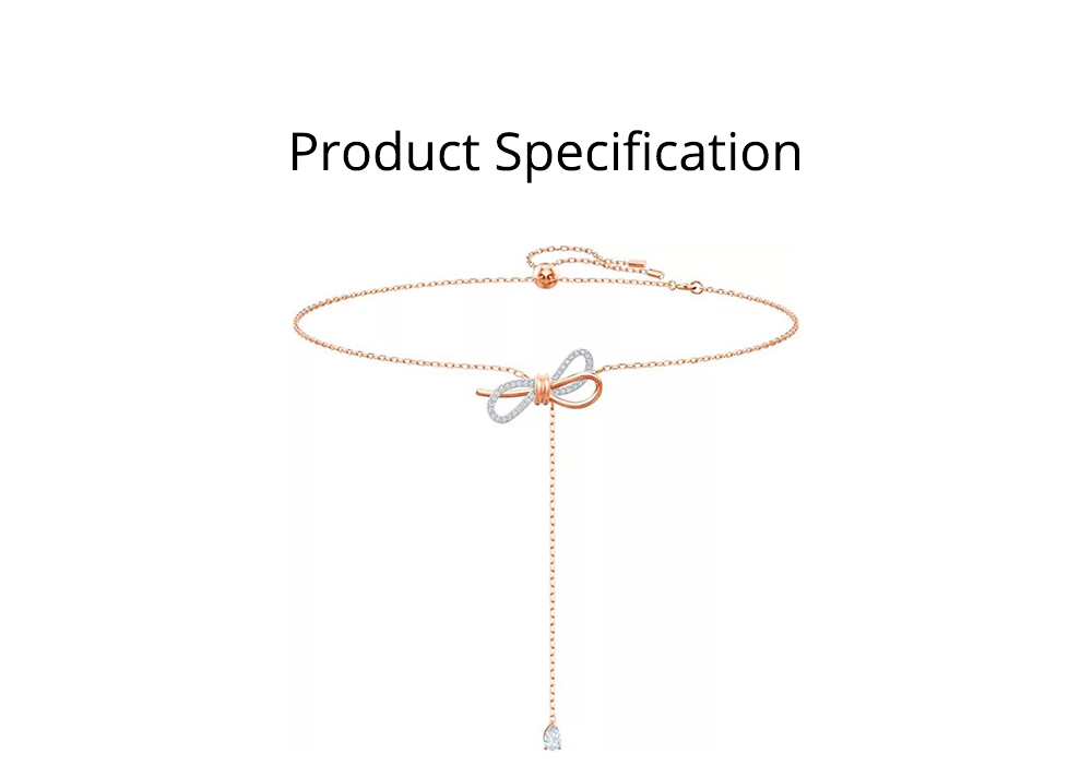 Bow Knot Dainty Choker Gold Necklaces Women's Jewelry Gift, Fashion Chain with Artificial Diamond, Elegant & Beautiful Gift for Birthday Anniversary 6