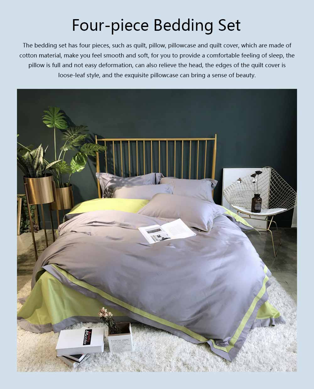 Four-piece Bedding Set Cotton Material, Flat-sheet Pillow Soft Bed Sheet Fitted-sheet Breathable Bedding Bag Comfortable Quilt 0