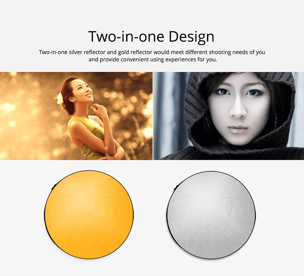 80cm Portable Foldable Silver Gold 2 in 1 Reflector, Collapsible Film Shooting Photography Disc Reflector 2