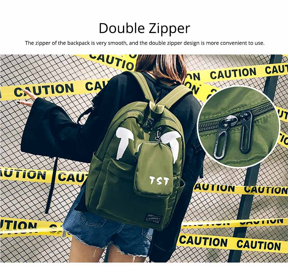 Fashion School Bag with Zipper Student Backpack, Individuality Large Capacity Universal Letters Couple Canvas Shoulder Bag  2