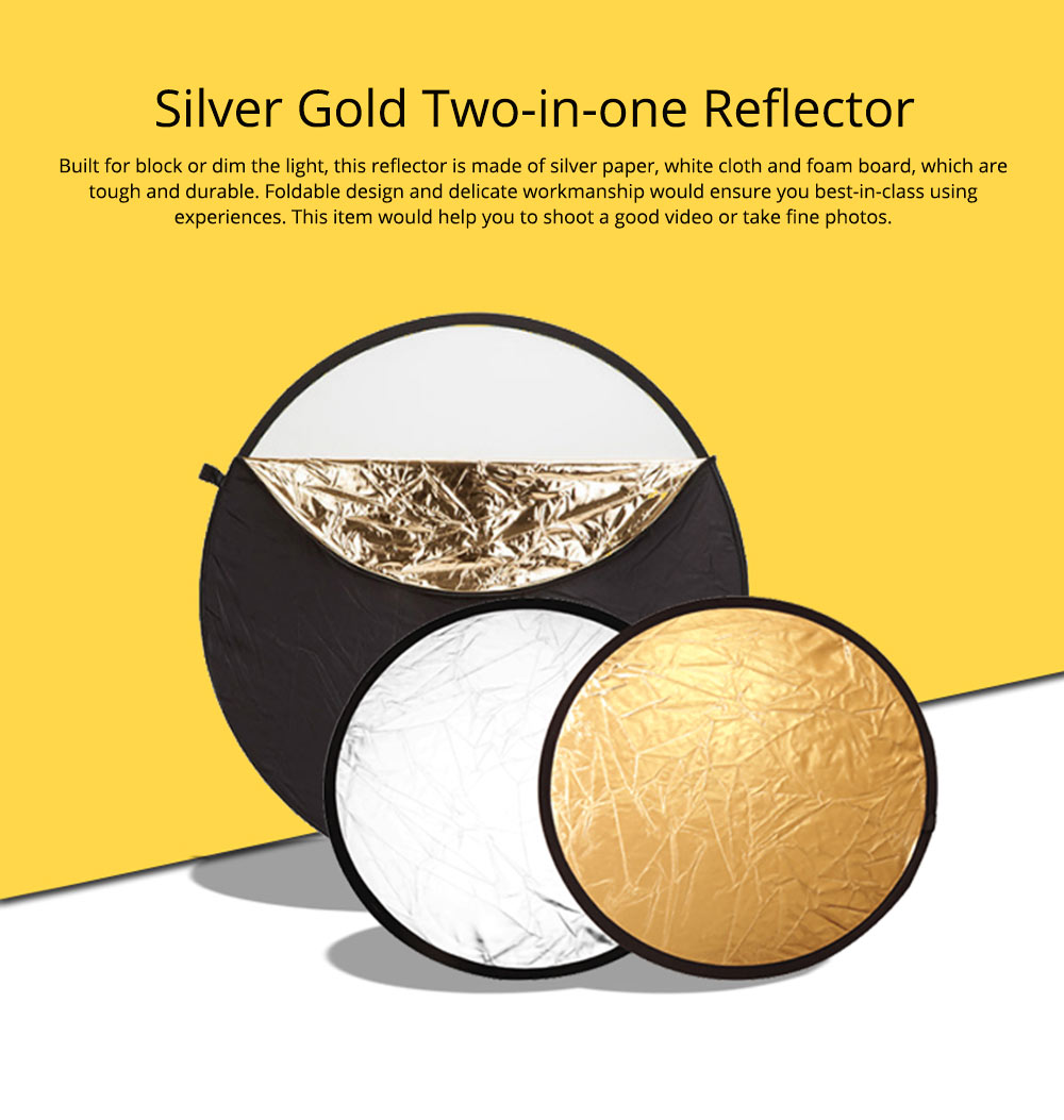 80cm Portable Foldable Silver Gold 2 in 1 Reflector, Collapsible Film Shooting Photography Disc Reflector 0
