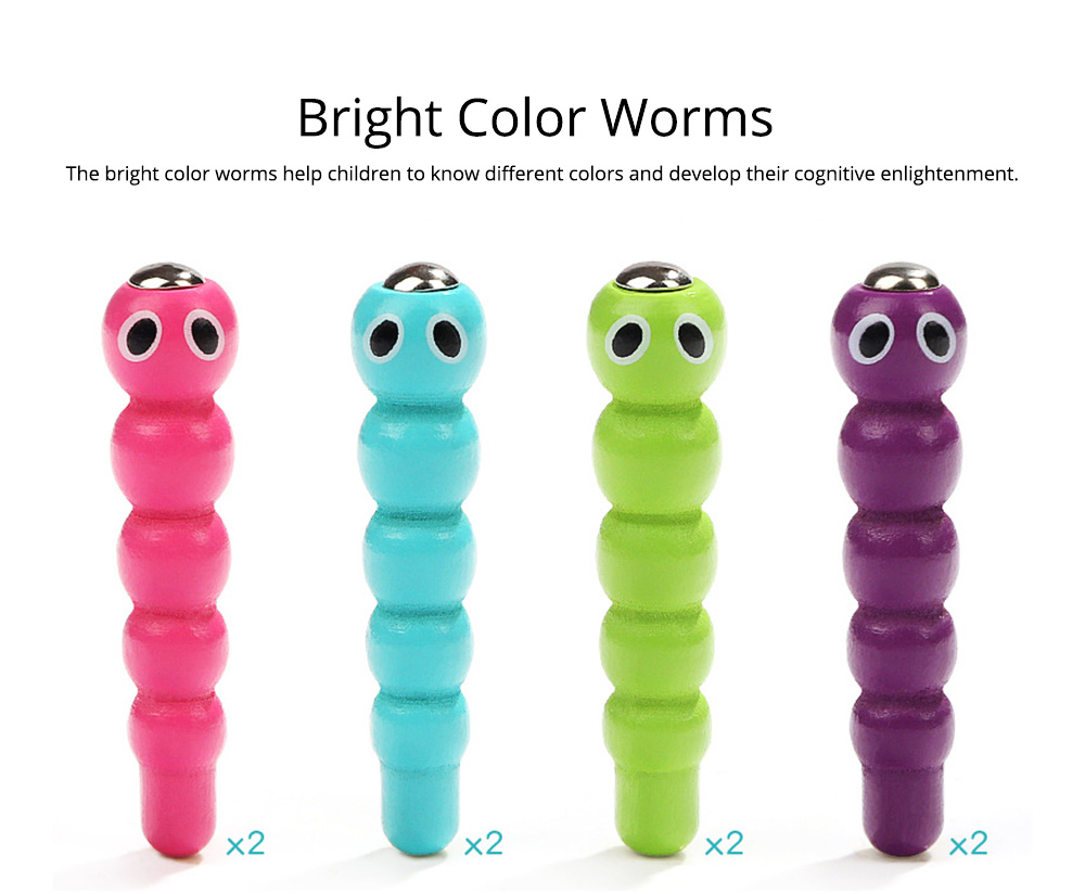 Intelligence Development Wooden Toy of Birds Catching Worms, Early Education Tool for 1-3 Years Boy Girl, Magnetic Children Toy 9