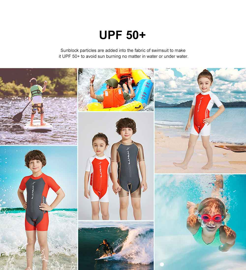 Children One-piece Swimwear for Boys Girls, Kids Short Sleeve Tops Pants Swimsuit 2 Pieces, UV Protection Swimwear 2019 Summer 2