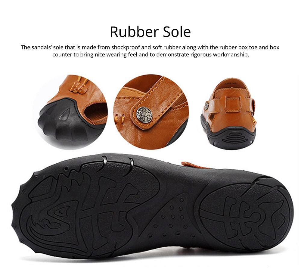 Genuine Leather Men's Sandals, Outdoor Sports Shoes Beach Shoes for Casual Activities, Soft Sole Trending Sandals for Men 9