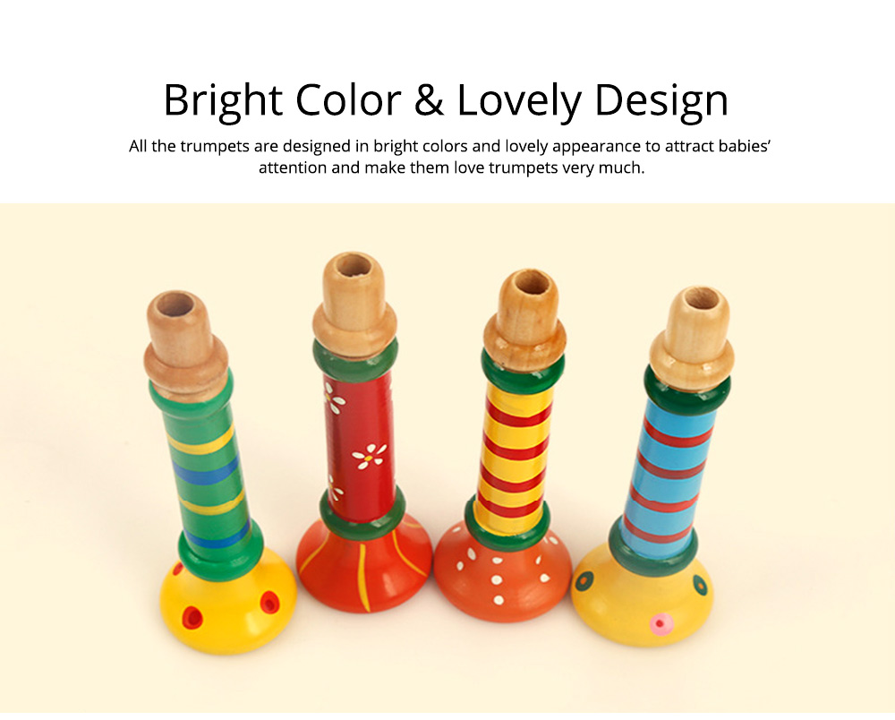Colorful Wood-made Music Perception Musical Instrument, Early Educational Toy WoodHorn for Children Babies Wooden Trumpet 5