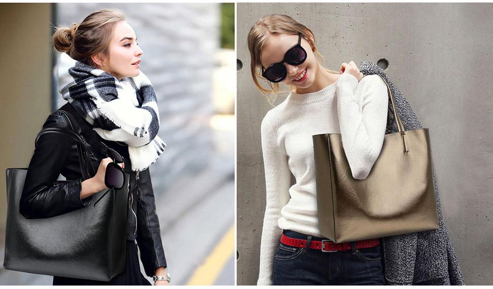 Elegant Tote Bag Shoulder Bag, Retro PU Leather Fashion Litchi Grain Large Size Clutch Bags, 2019 Fashion Handbag with Purse 6
