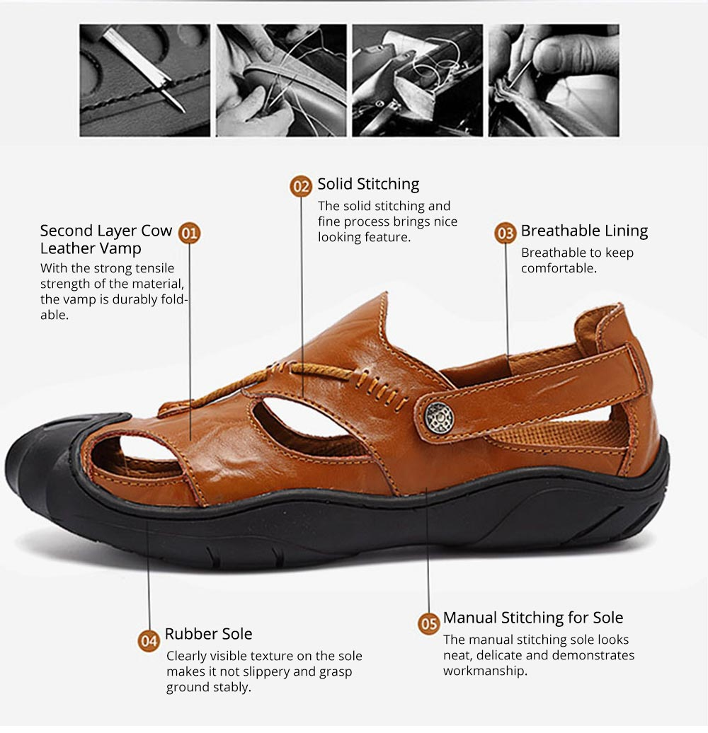 Genuine Leather Men's Sandals, Outdoor Sports Shoes Beach Shoes for Casual Activities, Soft Sole Trending Sandals for Men 5