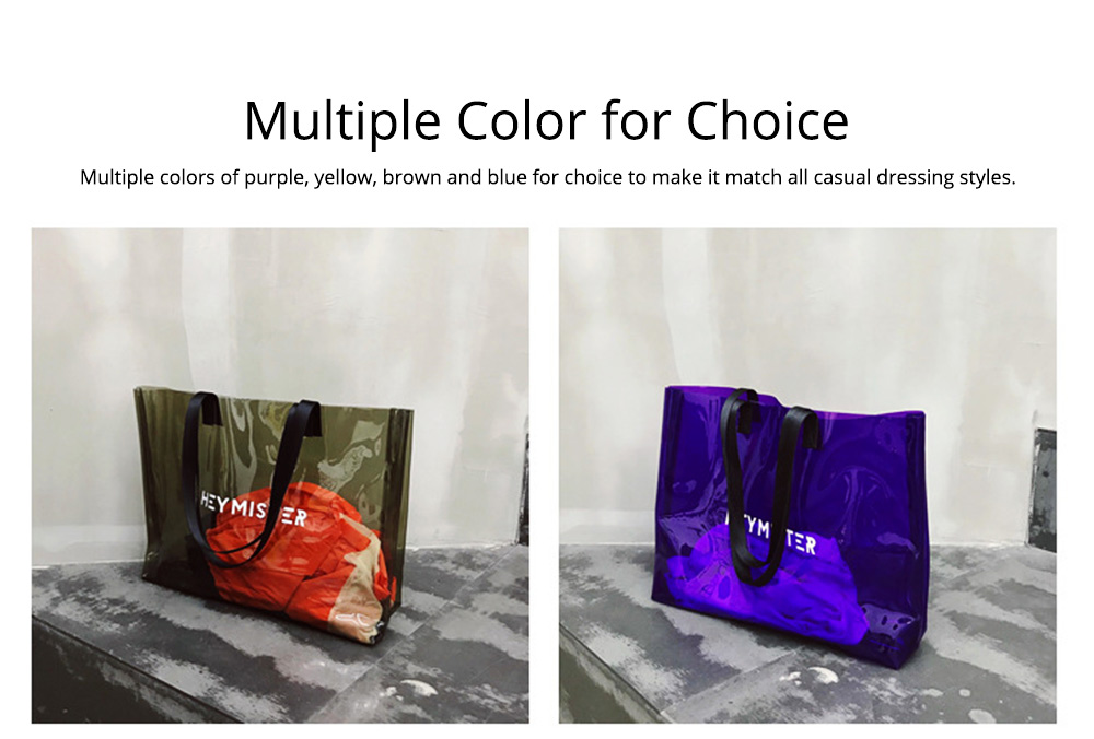Single shoulder-held Transparent Tote Bag for Women, Fashionable Casual Style Beach Bag 2019 Summer Use 6
