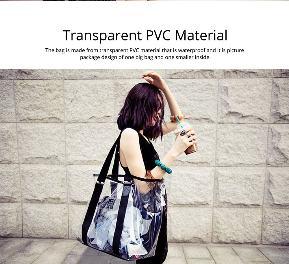 Western Style Tote Bag for Women 2019, Fashionable Exported Handbag Waterproof PVC Beach-bag, Women-dedicated Furla Transparent Crystal Jelly Bag 1