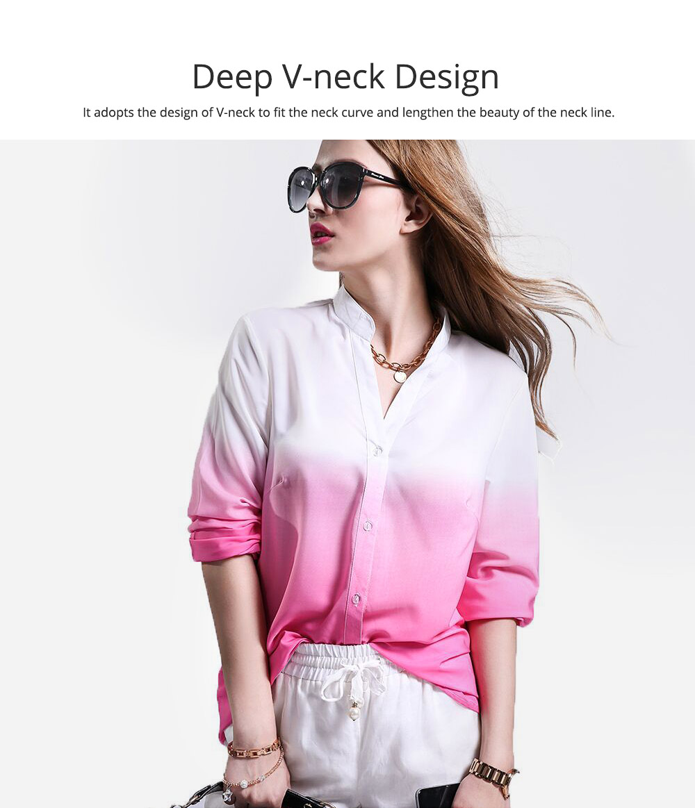 Women Button-down Shirt with Deep V-neck, Long Sleeves Ombre Shirt for Girls Ladies 1