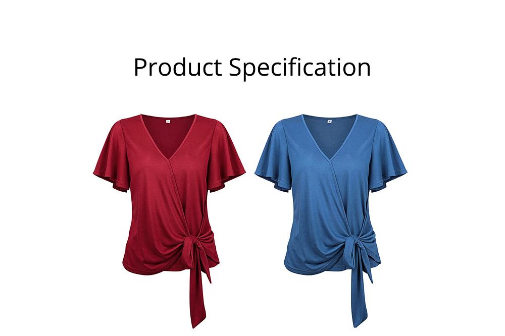 V-neck Lower T-shirt for Women in Summer 2019, Short Sleeve Hem Tying Knot Tees, Women Loose Top Dress 6