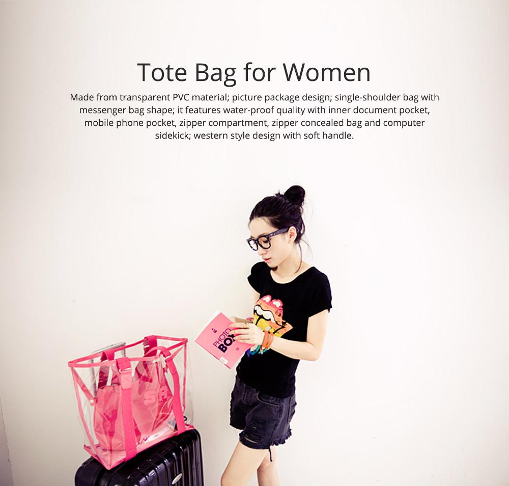 Western Style Tote Bag for Women 2019, Fashionable Exported Handbag Waterproof PVC Beach-bag, Women-dedicated Furla Transparent Crystal Jelly Bag 0