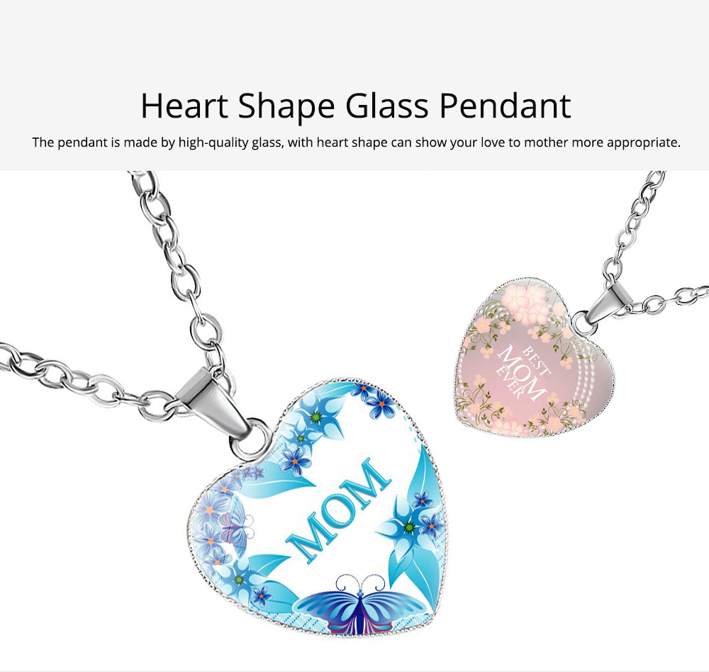 Glass Pendant Necklace for Mother, Adjustable Necklace Heart Shape Pendant for Mother's Day, Christmas, Birthday 2