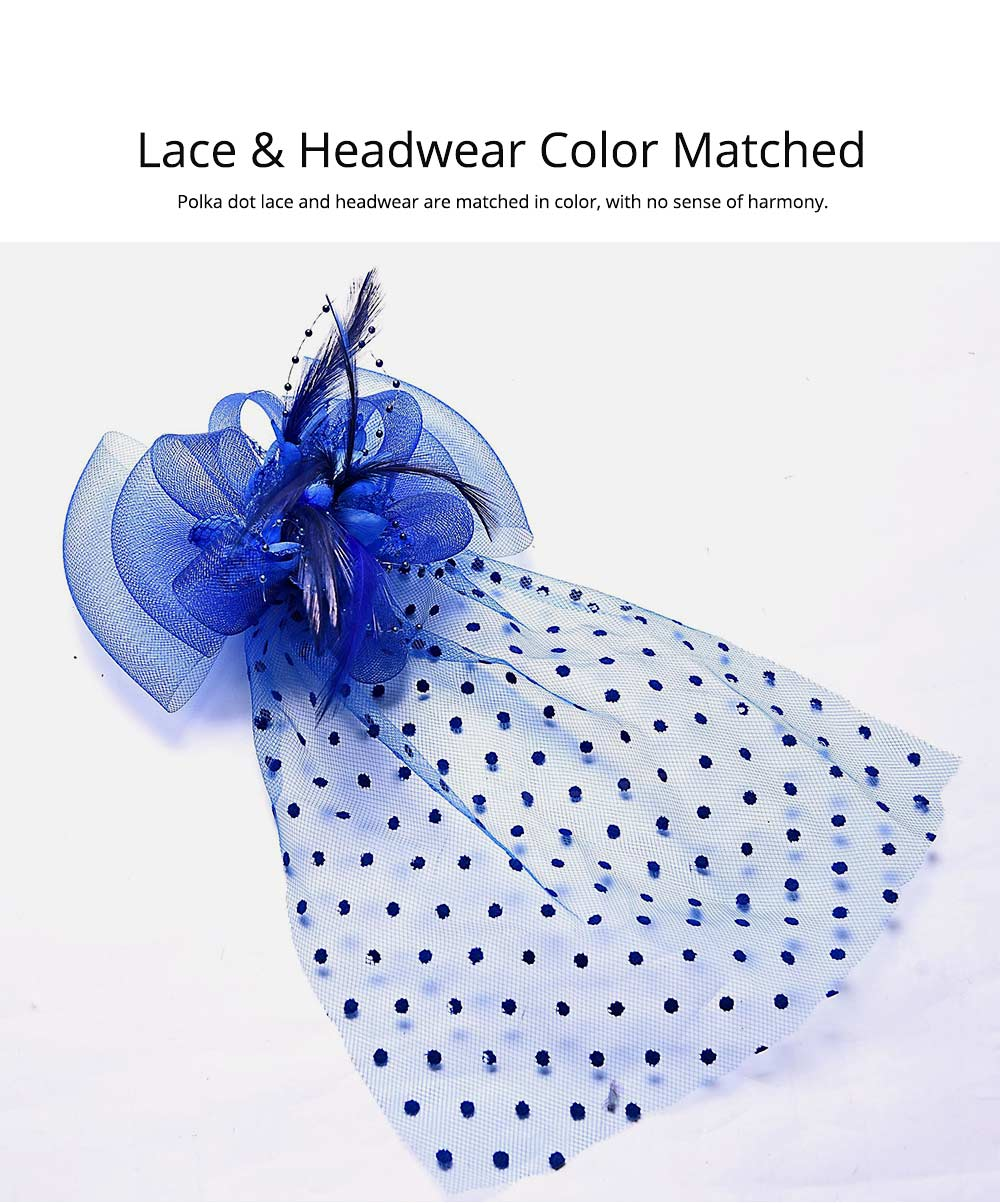 Mesh Headwear for Shows Dinner Banquet, Brides Hat Feather Mesh Yarn Hair Accessories with Flaky Polka Dots Lace 3
