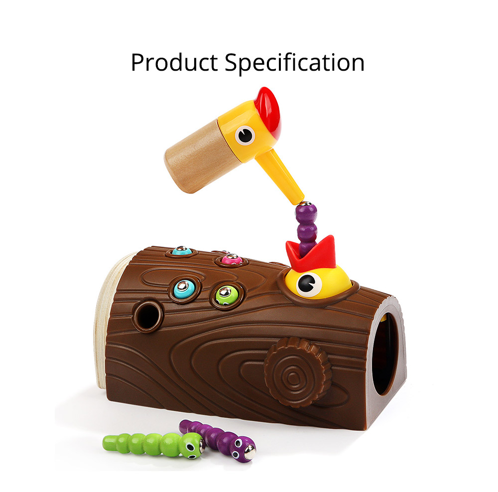 Intelligence Development Wooden Toy of Birds Catching Worms, Early Education Tool for 1-3 Years Boy Girl, Magnetic Children Toy 11